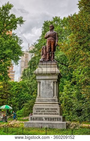 New York, Usa - October 2, 2018: Daniel Webster Sculpture In The Central Park. Sculptor Thomas Ball