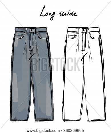 Vector Fashion Sketch Of Jeans Long Wide Fit. Sketch Of Trendy Trousers. Fashion Illustration.