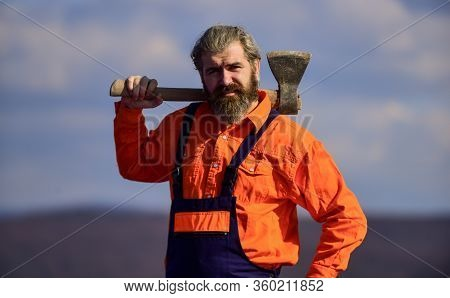 Handsome Guy Brutal Temper. Hard Labour. Use Axe Construction. Renovation Tools. Professional Occupa
