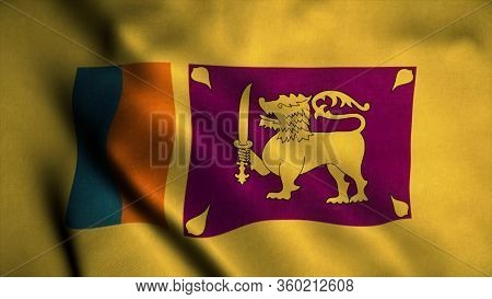 Sri Lanka Flag Waving In The Wind. National Flag Of Sri Lanka. Sign Of Sri Lanka. 3d Rendering.