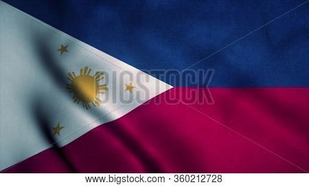 Philippines Flag Waving In The Wind. National Flag Of Philippines. Sign Of Philippines. 3d Rendering