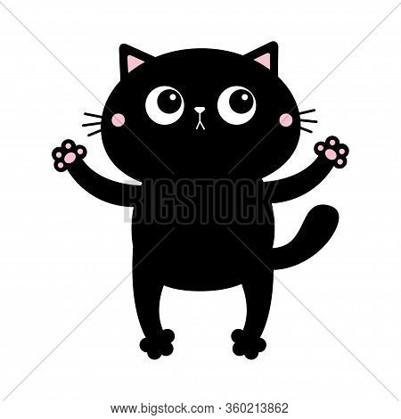 Black Cat. Open Hand Paw Print. Kitty Reaching For A Hug. Happy Valentines Day. Funny Kawaii Animal.
