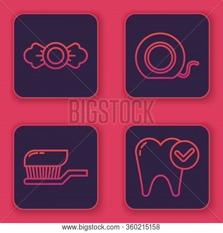 Set Line Candy, Toothbrush With Toothpaste, Dental Floss And Tooth Whitening Concept. Blue Square Bu