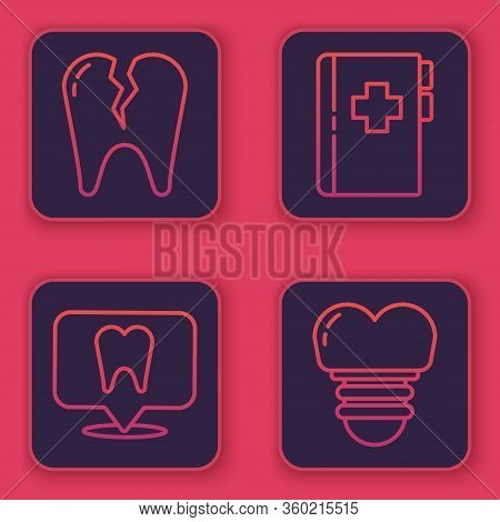 Set Line Broken Tooth, Dental Clinic Location, Clipboard With Dental Card And Dental Implant. Blue S