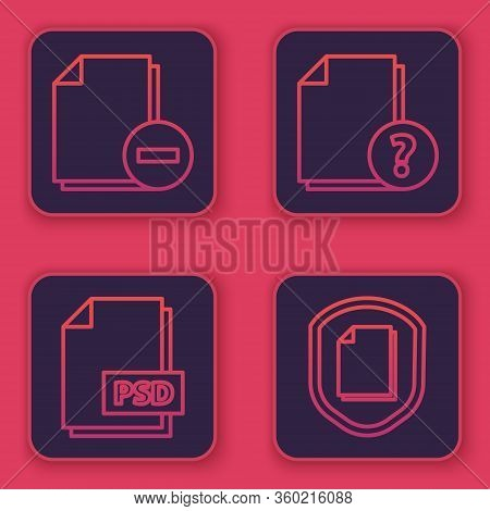 Set Line Document With Minus, Psd File Document, Unknown Document And Document Protection Concept. B