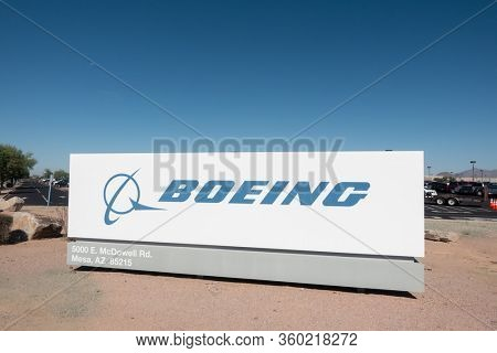 Mesa,Az/USA 9.19.19 Boeing,founded in 1916 is American multinational corp that designs, manufactures, & sells airplanes, rotorcraft, rockets, satellites, communication equipment & missiles worldwide.