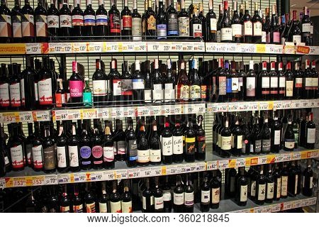 Kyiv / Ukraine. 09 March 2019: Wine Shop. Wide Selection Of Champagne And Wine In Department Of Alco