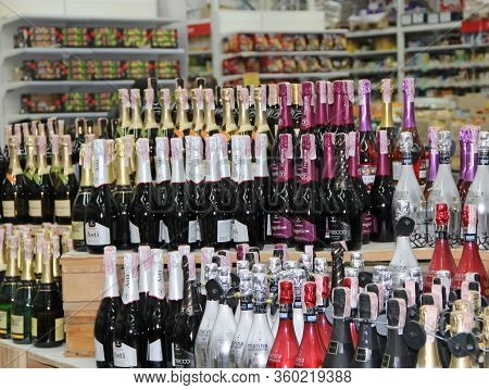 Kyiv / Ukraine. 09 March 2019: Champagne Shop. Wide Selection Of Champagne And Wine In Department Of