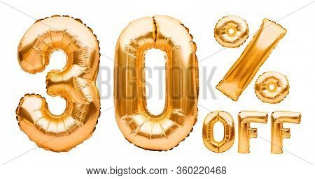 Golden Thirty Percent Sale Sign Made Of Inflatable Balloons Isolated On White. Helium Balloons, Gold
