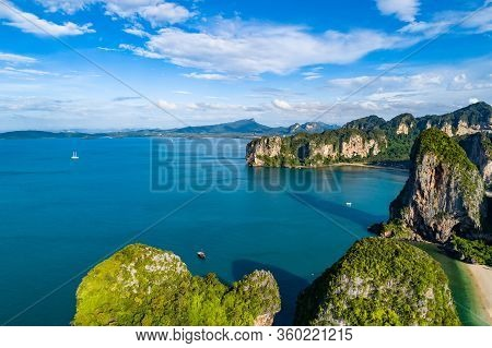 Railay Beach In Thailand, Krabi Province, Aerial View Of Tropical Railay And Pranang Beaches And Coa