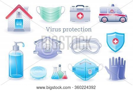 Virus Protection Icon. Corona Virus Covid Prevention Collection, Medical Ppe Element Set. Soap Bottl