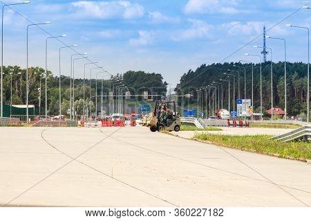 Krakovets, Ukraine - August, 2019: The End Of The Largest Polish Autobahn A4 (european E40) Connecti