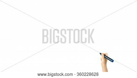 Children Hand With Marker Write On An Isolated White Background. Writing Hand. Hand Holding Black Pe