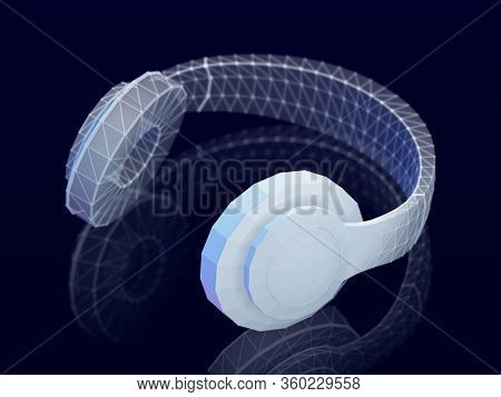 3d Polygonal Headphones With Reflection On Dark Background. Abstract Visualization Of Digital Sound
