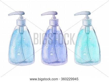 Watercolor Set Of Full Bottles Isolated On White Background. Watercolour Hand Drawn Illustration. Te
