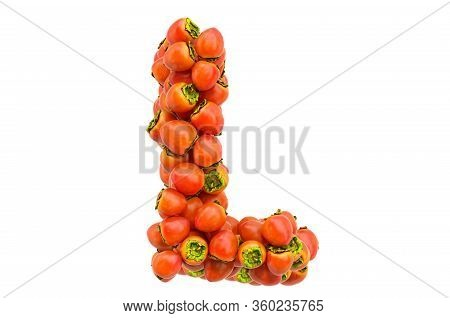 Letter L From Persimmons, 3d Rendering Isolated On  White Background