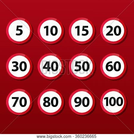 Set Of Speed Limit Road Signs. Set Of Generic Speed Limit Signs For Maximum Speed At 5 10 15 20 30 4