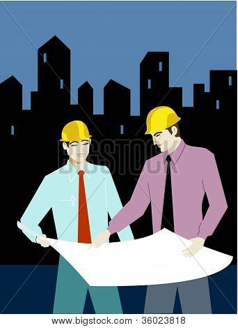 Two Businessman Wearing Hardhats And Looking At Plans
