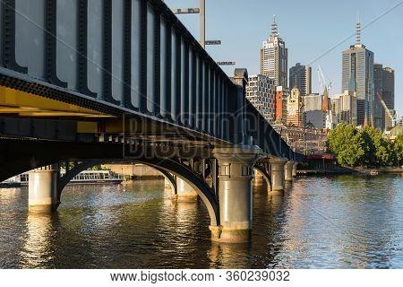 Melbourne, Australia - December 4: Sandridge Footbridge In South Melbourne In The Evening On Decembe