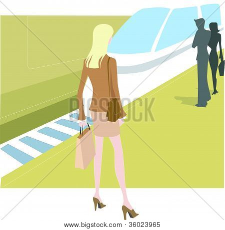 A Businesswoman Waiting For A Train