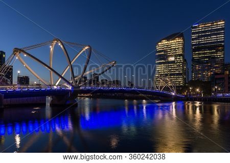Melbourne, Australia - December 4: Evening Landscape Of The Seafarers Bridge In South Melbourne On D