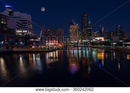 Melbourne, Australia - December 4: Night Landscape Of The South Melbourne On December 4, 2018 In Mel