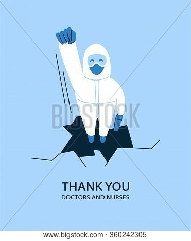 Vector Illustration In Flat Style. Thank You Doctors And Nurses Helping People To Cope With Novel Co