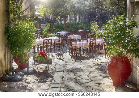 Sunny Pedestrian Street With Summer Terrace In The Center Of Athens, Greece