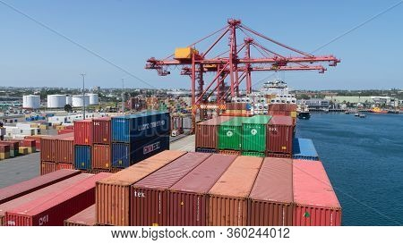 Sydney, Australia - January 08: Container Terminal In Port Of Sydney On January 08, 2019 In Sydney,