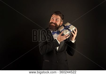 Solution For Boxing Day. Happy Businessman Hold Present Box. Bearded Man Enjoy Boxing Day Sale. Boxi