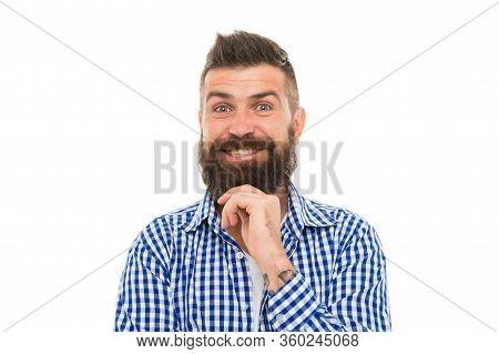 Psychological Health. Happy Emotional Guy. Emotional Intellect. Happy Man On White Background. Beard