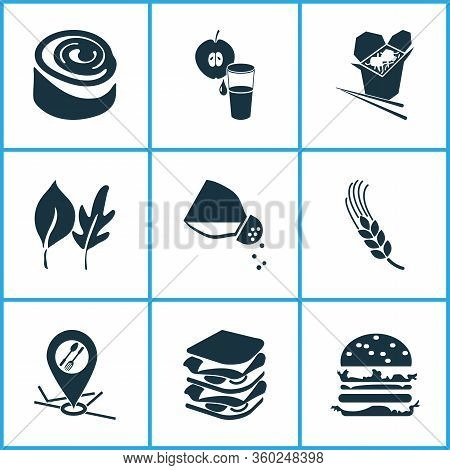 Meal Icons Set With Wheat, Leaves, Chinese Food And Other Plant Elements. Isolated Vector Illustrati