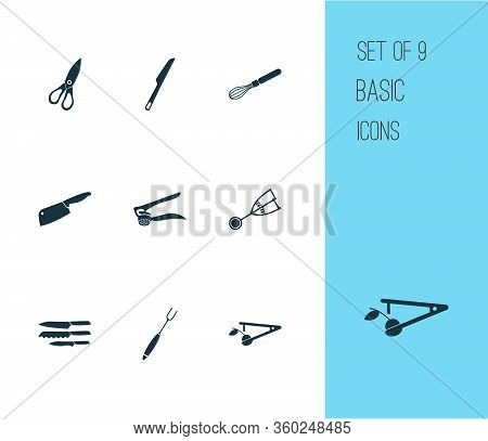Kitchenware Icons Set With Dinner Knife, Chopping Knife, Casing Fork And Other Ice Cream Scoop Eleme