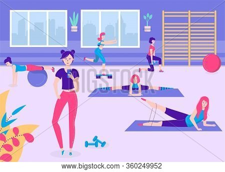 Active Fitness Girl Vector Illustration. Cartoon Flat Young Sporty Woman Characters In Sportswears D