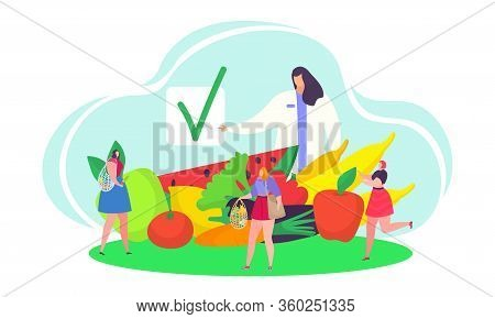 Eco Healthy Eating Concept Vector Illustration. Cartoon Flat Woman Doctor Character Advising Tiny Pe