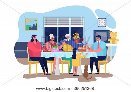 Family Dinner Vector Illustration. Cartoon Flat Happy People Dining Together In Living Room Home Int