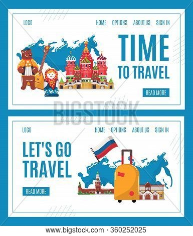 Travel To Russia Vector Illustration. Cartoon Flat Famous Russian Landmark, Moscow Architecture And