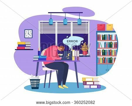 Work Problem Vector Illustration. Cartoon Busy People Working Hard In Stress, Sad Man Character Have
