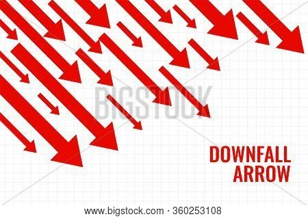 Business Downfall Arrow Showing Downward Trend Vector Design Illustration