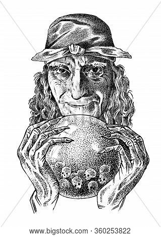 Scary Witch With A Magic Crystal Ball. Old Woman Or Crone. Ancient Mythical Characters Set. Engraved