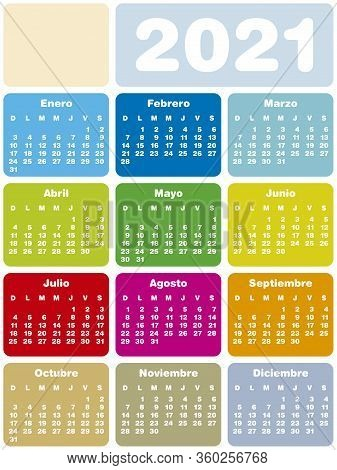 Colorful Calendar For Year 2021, In Vector Format. Spanish Language.
