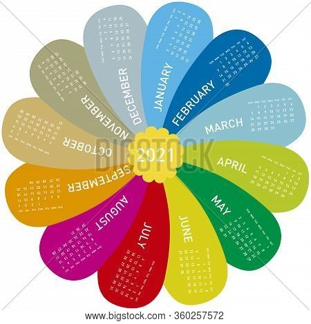 Colorful Calendar For 2021, In Vectors. Flower Design, Each Month In A Petal.