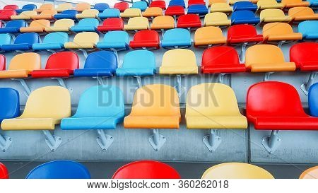 Multicolored Seats.  Colorful Seating. Soo Many Seats