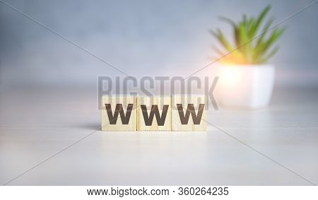 Www Concept On Wooden Cubes And Flower In A Pot In The Background