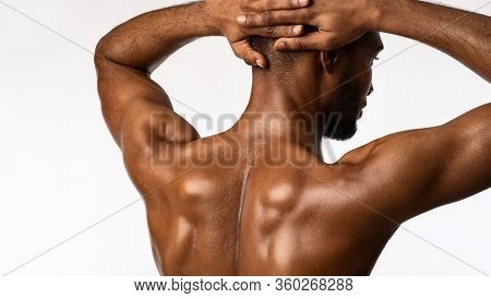 Building Muscle. Fit Bodybuilder Guy Posing Standing Back To Camera Over White Background. Studio Sh