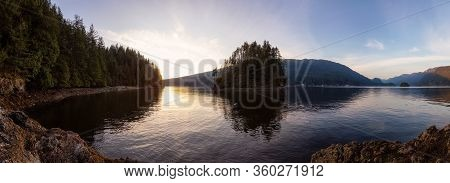 Beautiful Panoramic View Of The Canadian Landscape During A Vibrant Winter Sunset. Hike On Jug Islan