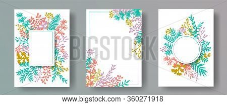 Watercolor Herb Twigs, Tree Branches, Leaves Floral Invitation Cards Collection. Bouquet Wreath Rust