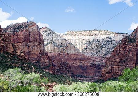Rock Formations At Zion Canyon - Zion National Park, Utah, Usa