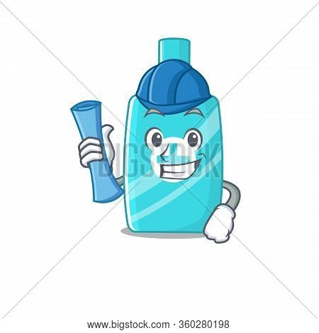Cartoon Character Of Ointment Cream Brainy Architect With Blue Prints And Blue Helmet