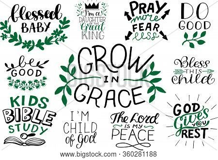 Christian Logo Set With Bible Verse And Quotes Blessed Baby, Kids Bible Study, The Lord Is My Peace,